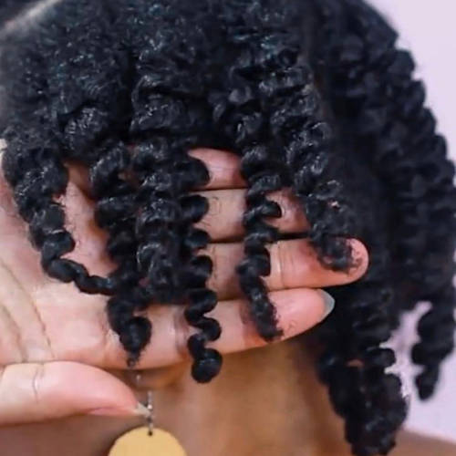 Defined twist out style on natural hair