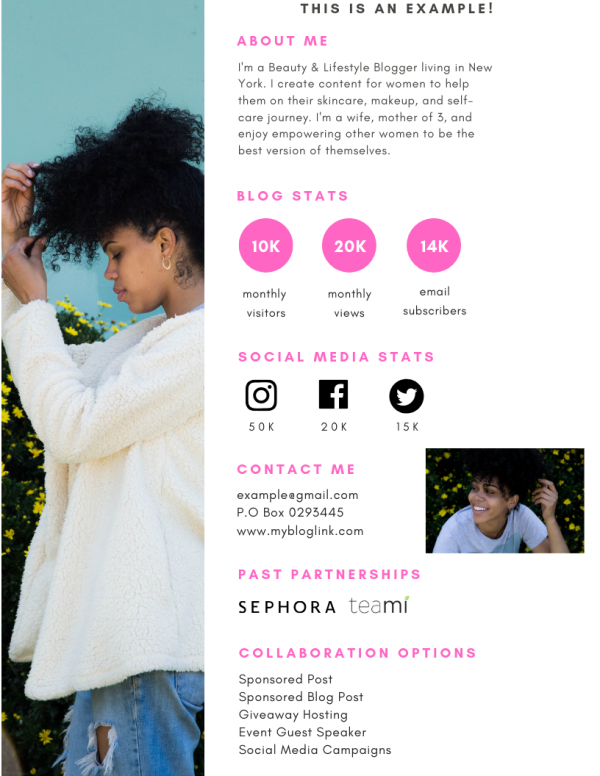 An example of a media kit for Influencers.